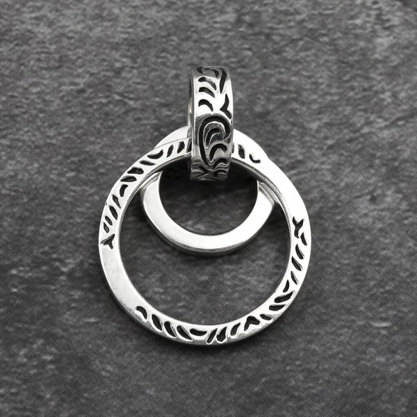 double rings pendant Double ring 925 silver pendant ethnic necklace