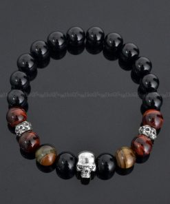 skull-bracelet-925g_oxtg10-skbe-925-silver-skull-charms-red-brown-tiger-eye-black-onyx-gemstone-beaded-bracelet