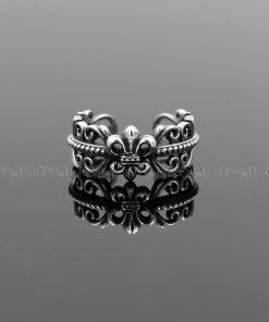 Fleur de lis rings Fleur de lis charm Antique celtic silver ring 925 sterling silver rings