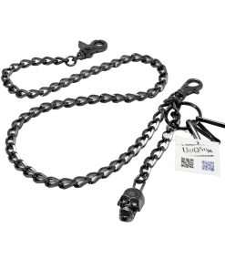 Skull wallet chain Creepy Cross Skull charm Wallet chains for Men biker Black gun metal chain