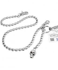 Skull wallet chain Creepy Cross Skull charm Wallet chains for Men biker Silver metal chain