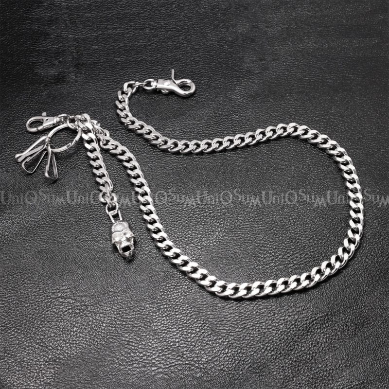 cross skull charm Wallet chain for Men women curb cuban link silver metal wallet chains Biker cross skull