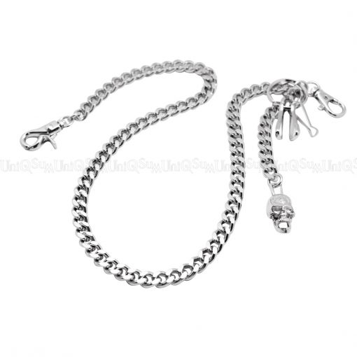Wallet chain for Men women curb cuban link silver metal wallet chains Biker cross skull