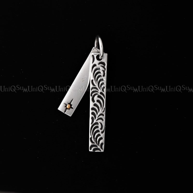double charms shing sun celtic slim vertical silver bar pendant 925 sterling silver medal