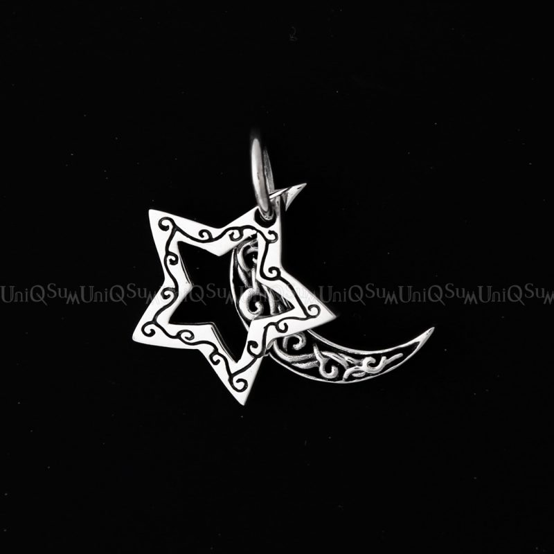 star moon pendant moon star 925 silver pendants Double charms medal jewelry