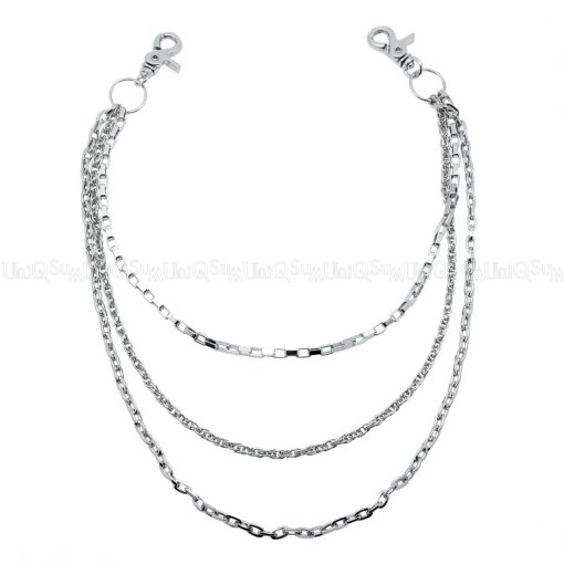 triple wallet chains simple Slim wallet chain silver metal punk biker chain