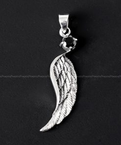 Feather silver pendant Black cubic zirconia 925 sterling silver wing pendant charms