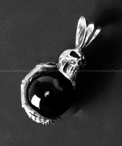 skull pendant Black Onyx hug creepy skull 925 sterling silver pendants for mens necklace skull jewelry