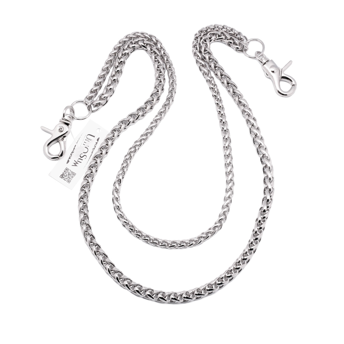 Rope Shaped Double Wallet Chains Silver Uniqsum