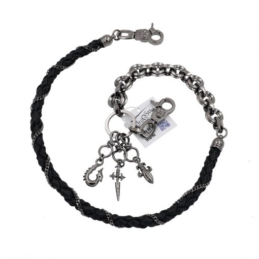 leather wallet chains sword Fleur de lis anchor wallet chin black gun metal biker chains keyring