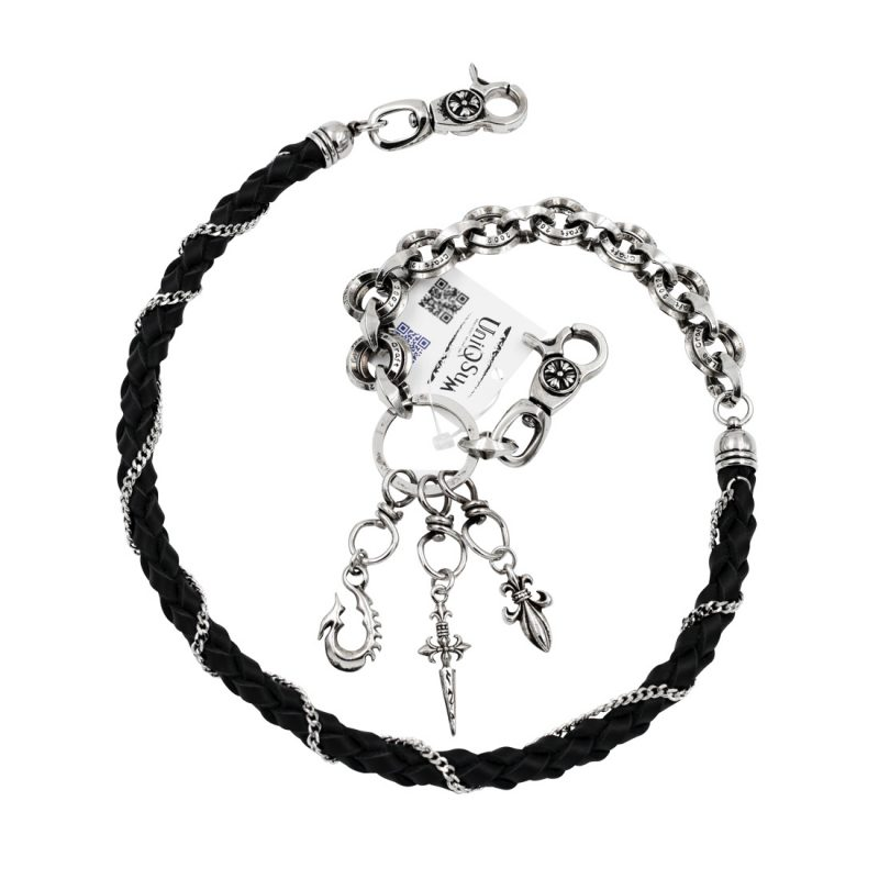 leather wallet chains sword Fleur de lis anchor wallet chin silver metal biker chains keyring