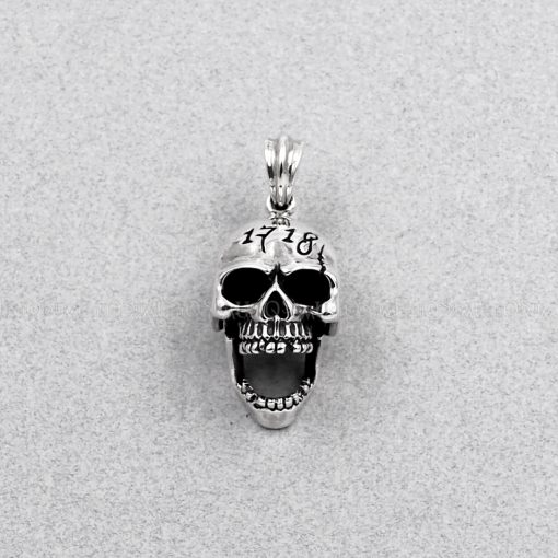 skull pendant Movable Mouth creepy skull silver pendant 925 sterling silver charms biker jewelry