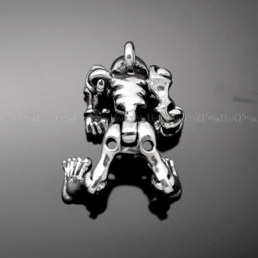 Skull Pendant Sterling silver charms Free joint skull 925 Silver necklaces charm biker jewelry