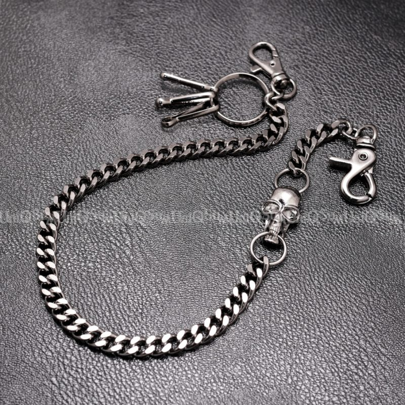 skull wallet chain biker gun metal chains Black curb cuban wallet chains