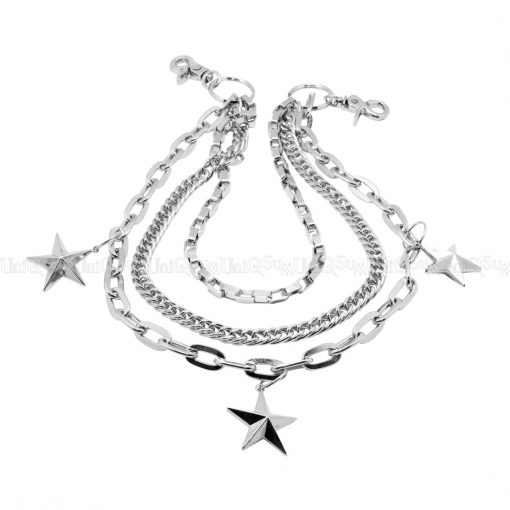 Triple wallet chains Star charm silver metal wallet chain biker chains jewelry punk