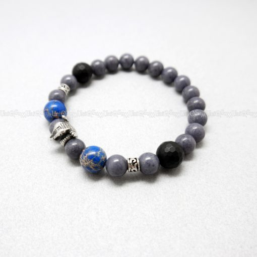 crocodile bracelet Cute sterling silver bracelets blue Gray Jasper Onyx beaded bracelet for men