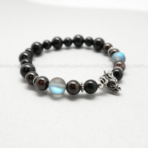 dragon bra cintamani 925 silver bracelets Birthstone Garnet Opal Onyx beaded bracelet for men