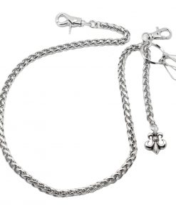 mens Wallet chain Silver Insignia shape Fleur de lis charm wallet chains