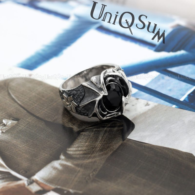 mens rings Black cubic Zirconia Dragon wing 925 sterling silver rings for men unique mens ring