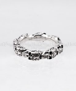 silver skull ring Vintage skull 925 sterling silver rings celtic symbols ring