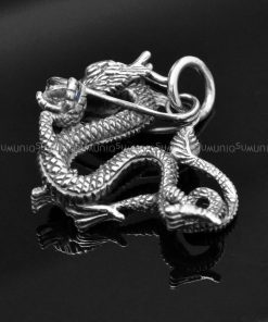 Sterling silver charms Pendant Zirconia cintamani DRAGON 925 Silver necklaces charm