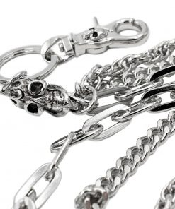 skull wallet chain Silver metal Triple wallet chains biker jewelry