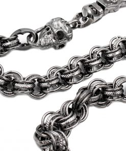 skull wallet chains Vintage ring wallet chain skull biker chain gun metal key chains