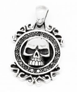 Skull Sterling silver charms Skull black CZ Gems 925 sterling silver pendant necklace