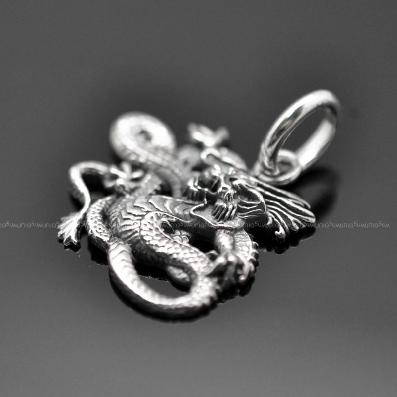 Sterling silver charms Pendant Japanese Dragon 925 Silver necklaces charm