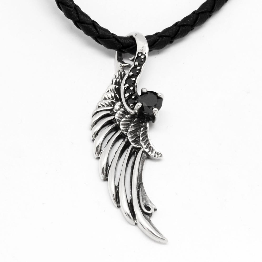 Sterling Silver Black CZ Wing Pendant Solid Pendants /& Charms Jewelry