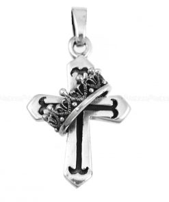religious jewelry Crown Cross 925 Sterling Silver Pendants Crown Cross Pendant
