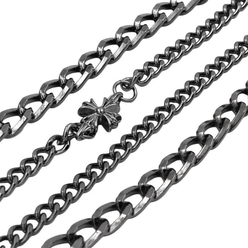 cross wallet chain  Gun metal double wallet chains biker chains