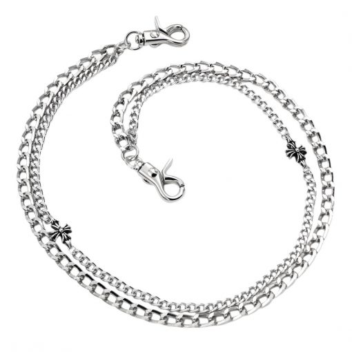 cross wallet chain CHSY115S Silver metal double wallet chains biker chains